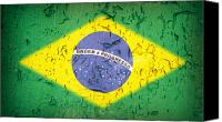 Peeling Canvas Prints - Brazil Flag vintage Canvas Print by Jane Rix