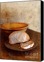 Humble Canvas Prints - Bread on Rustic Plate and Table Canvas Print by Jill Battaglia