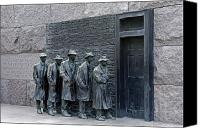 Washington Dc Canvas Prints - Breadline at the FDR Memorial - Washington DC Canvas Print by Brendan Reals