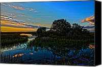 Low Country Canvas Prints - Break of Dawn over Low Country Marsh Canvas Print by Mike Savlen
