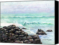 Seascape Pastels Canvas Prints - Breakers Canvas Print by Arline Wagner