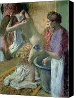 Dry Pastels Canvas Prints - Breakfast after a Bath Canvas Print by Edgar Degas