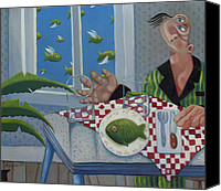 Pajamas Canvas Prints - Breakfast In Barbados 1989 Canvas Print by Larry Preston
