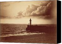 Grey Clouds Canvas Prints - Breakwater at Sete Canvas Print by Gustave Le Gray