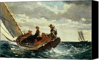 Navy Canvas Prints - Breezing Up Canvas Print by Winslow Homer