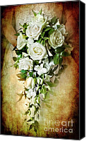 White Rose Canvas Prints - Bridal Bouquet Canvas Print by Meirion Matthias