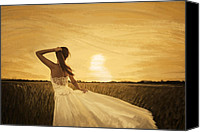 Bride Canvas Prints - Bride In Yellow Field On Sunset  Canvas Print by Setsiri Silapasuwanchai