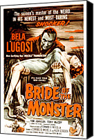 1955 Movies Canvas Prints - Bride Of The Monster, Bela Lugosi, 1955 Canvas Print by Everett
