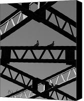 Industrial Canvas Prints - Bridge Abstract Canvas Print by Bob Orsillo