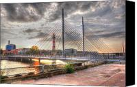 Malmo Digital Art Canvas Prints - Bridge Canvas Print by Barry R Jones Jr