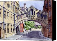 Architecture Painting Canvas Prints - Bridge of Sighs. Hertford College Oxford Canvas Print by Mike Lester