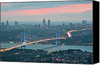 Cable Canvas Prints - Bridge Over Bosphrous Canvas Print by Salvator Barki
