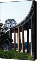 Cay Canvas Prints - Bridge Over Delaware Chesapeake Canal Canvas Print by Skip Willits