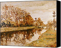 Indiana Autumn Canvas Prints - Bridge Over the Canal Canvas Print by Addie May Hirschten