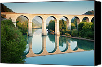 Arch Bridge Canvas Prints - Bridge Over The River Durance In Sisteron, France Canvas Print by Kirill Rudenko