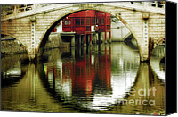 Chinese Canvas Prints - Bridge over the Tong - Qibao Water Village China Canvas Print by Christine Till