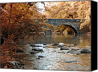Valley Green Canvas Prints - Bridge Over the Wissahickon at Valley Green Canvas Print by Bill Cannon
