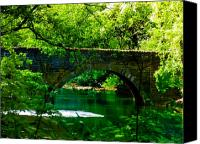 Valley Green Canvas Prints - Bridge Over the Wissahickon Canvas Print by Bill Cannon