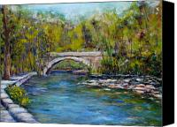 Bridge Pastels Canvas Prints - Bridge Over Wissahickon Creek Canvas Print by Joyce A Guariglia