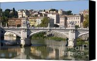 City Scapes Canvas Prints - Bridge Ponte Vittorio II. River Tiber.Rome Canvas Print by Bernard Jaubert