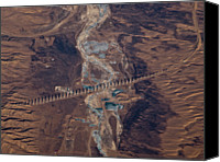 Wooden Post Canvas Prints - Bridge Project In Gobi Desert Canvas Print by Victor Gil Gazapo
