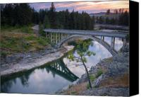 Bridge Crossing River Photo Canvas Prints - Bridge Reflection Canvas Print by Idaho Scenic Images Linda Lantzy