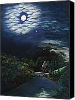 Moonlight Pastels Canvas Prints - Bridge to the Unknown Canvas Print by Marie-Claire Dole