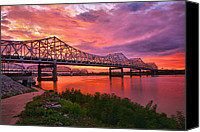 Indiana Canvas Prints - Bridges At Sunrise II Canvas Print by Steven Ainsworth
