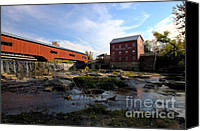 Indiana Autumn Canvas Prints - Bridgeton Covered Bridge and Mill no 1 Canvas Print by Alan Look