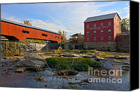 Indiana Autumn Canvas Prints - Bridgeton Covered Bridge and Mill no 2 Canvas Print by Alan Look