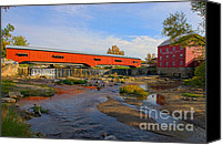 Indiana Autumn Canvas Prints - Bridgeton Covered Bridge and Mill no 3 Canvas Print by Alan Look