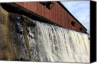 Indiana Autumn Canvas Prints - Bridgeton Covered Bridge and Waterfall no 1 Canvas Print by Alan Look