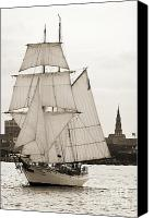 Charleston Sailboat Tours Canvas Prints - Brigantine Tallship Fritha Sailing Charleston Harbor Canvas Print by Dustin K Ryan