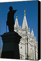 Angel Moroni Canvas Prints - Brigham Young Statue Frames The Jesus Canvas Print by Stephen St. John