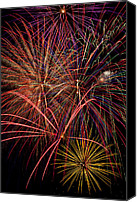 Independence Photo Canvas Prints - Bright Colorful Fireworks Canvas Print by Garry Gay