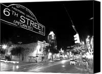 Black And White Photo Canvas Prints - Bright Lights at Night Canvas Print by John Gusky