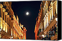 House Canvas Prints - Bright moon in Paris Canvas Print by Elena Elisseeva