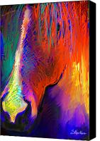 Pet Portrait Digital Art Canvas Prints - Bright Mustang horse Canvas Print by Svetlana Novikova