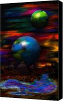 Space Art Drawings Canvas Prints - Bright Night Canvas Print by Ritchie Dalto