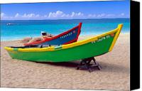 Puerto Rico Canvas Prints - Brightly Painted Fishing Boats on a Caribbean Beach Canvas Print by George Oze