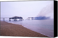 Deliberate Canvas Prints - Brighton West Pier On Fire Canvas Print by Carlos Dominguez