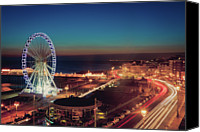 Long Street Canvas Prints - Brighton Wheel And Seafront Lit Up At Night Canvas Print by PhotoMadly