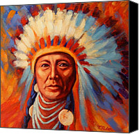 Indian Portrait. Native American.southwest. Canvas Prints - Brilliant Dawn Canvas Print by Theresa Paden