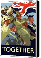 Flag Digital Art Canvas Prints - British Empire Soldiers Together Canvas Print by War Is Hell Store