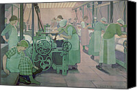 Job Painting Canvas Prints - British Industries - Cotton Canvas Print by Frederick Cayley Robinson