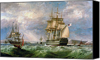 Stormy Canvas Prints - British Men-O-War Sailing into Cork Harbour  Canvas Print by George Mounsey Wheatley Atkinson