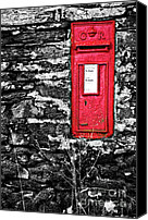 Stone Wall Canvas Prints - British Red Post Box Canvas Print by Meirion Matthias