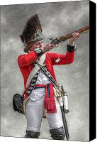 American Revolution Canvas Prints - British Redcoat Firing Musket Portrait  Canvas Print by Randy Steele