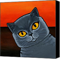 Grey Painting Canvas Prints - British Shorthair Canvas Print by Leanne Wilkes