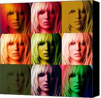 Britney Spears Canvas Prints - Britney Spears Bold Warhol by GBS Canvas Print by Anibal Diaz